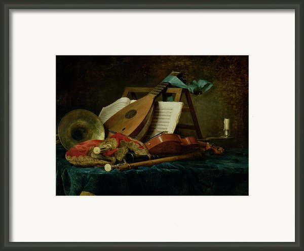 The Attributes Of Music Framed Print By Anne Vallaer-coster