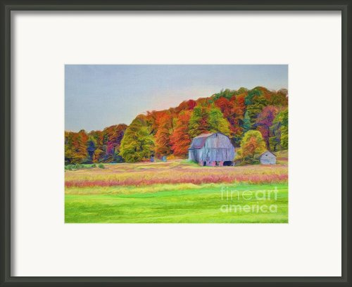 The Barn In Autumn Framed Print By Michael Garyet