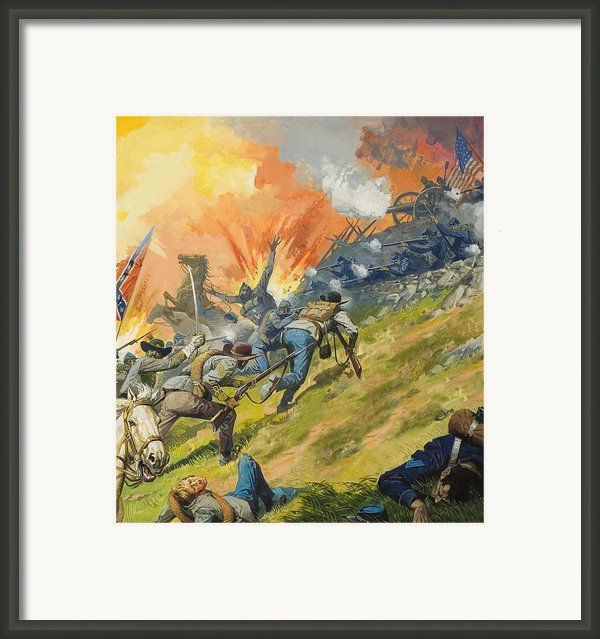 The Battle Of Gettysburg Framed Print By Severino Baraldi