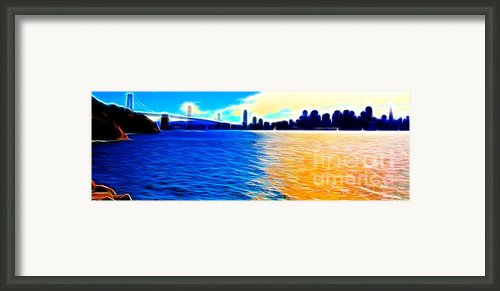 The Bay Bridge And The San Francisco Skyline . Panorama Framed Print By Wingsdomain Art And Photography