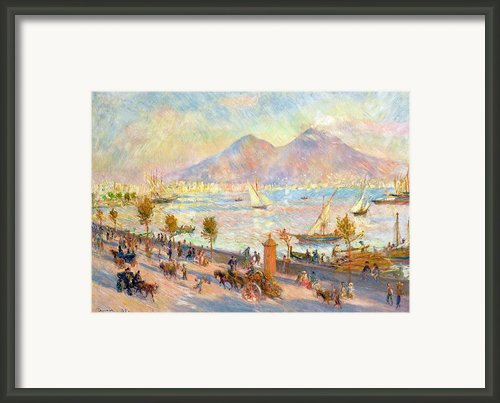 The Bay Of Naples With Vesuvius In The Background Framed Print By Pierre Auguste Renoir