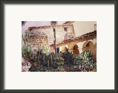The Cactus Courtyard - Mission Santa Barbara Framed Print By David Lloyd Glover