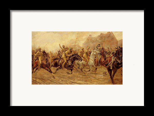 The Charge Of The Bengal Lancers At Neuve Chapelle Framed Print By Derville Rowlandson