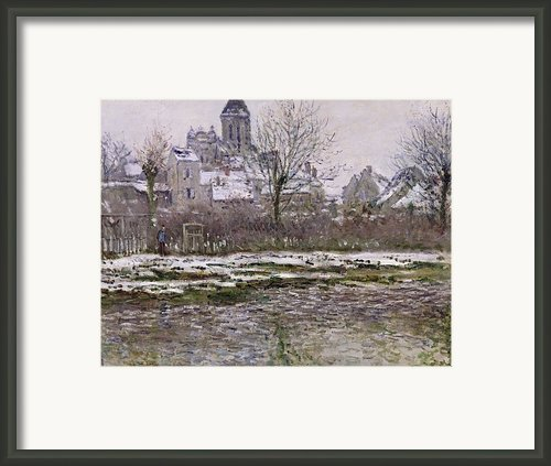 The Church At Vetheuil Under Snow Framed Print By Claude Monet