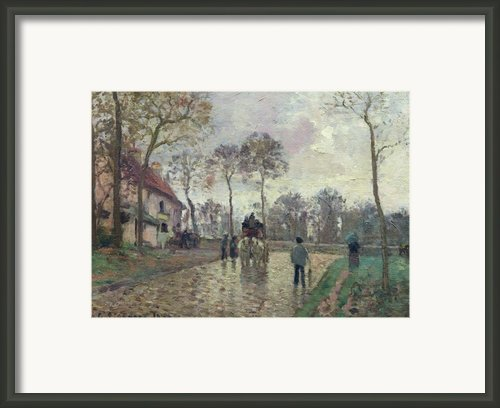 The Coach To Louveciennes Framed Print By Camille Pissarro
