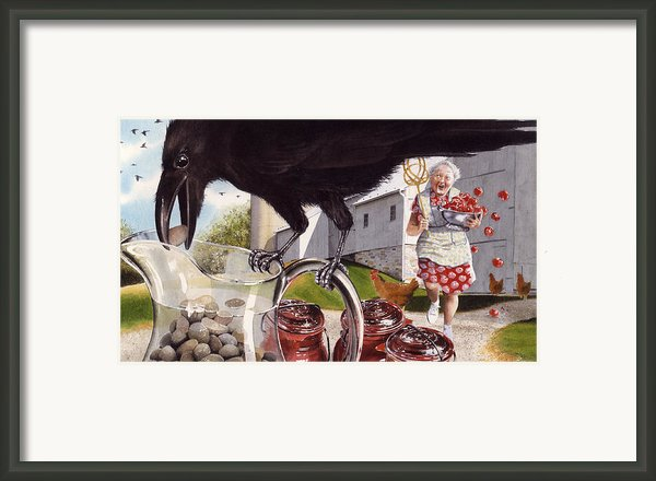 The Crow And The Pitcher Framed Print By Denny Bond