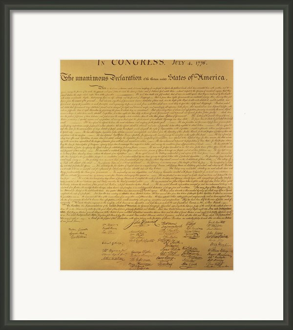 The Declaration Of Independence Framed Print By Founding Fathers