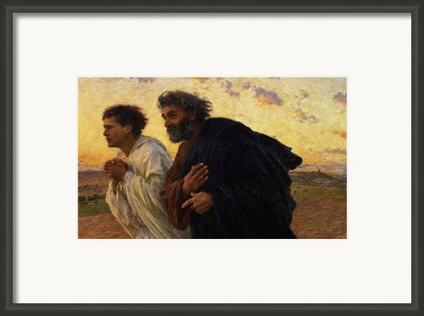 The Disciples Peter And John Running To The Sepulchre On The Morning Of The Resurrection Framed Print By Eugene Burnand