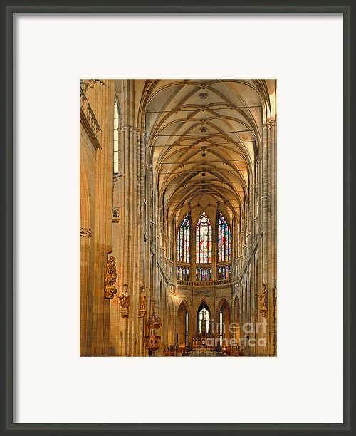 The Enormous Interior Of St. Vitus Cathedral Prague Framed Print By Christine Till