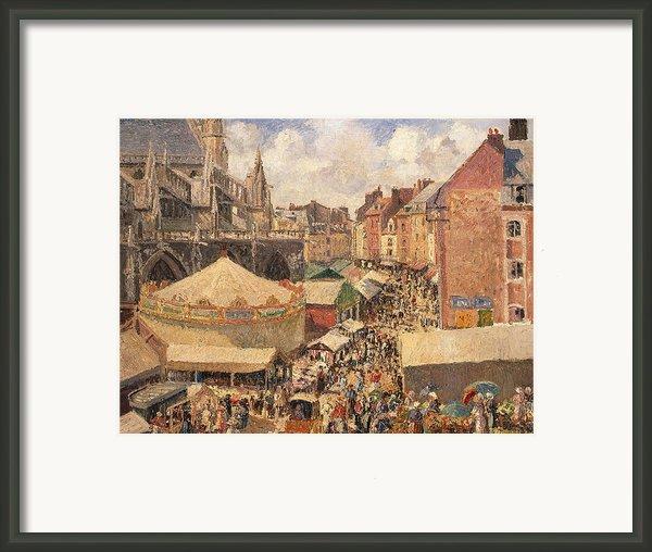The Fair In Dieppe Framed Print By Camille Pissarro