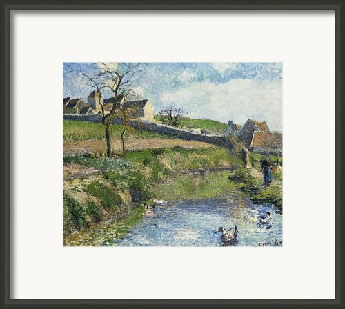 The Farm At Osny Framed Print By Camille Pissarro