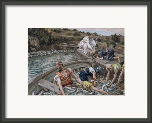 The First Miraculous Draught Of Fish Framed Print By Tissot