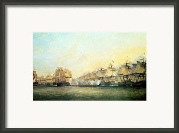 The Fourth Action Off Trincomalee Between The English And The French Framed Print By Dominic Serres
