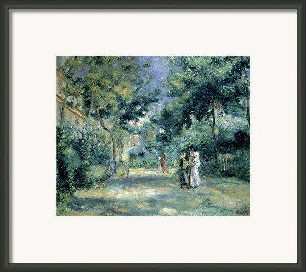 The Gardens In Montmartre Framed Print By Pierre Auguste Renoir