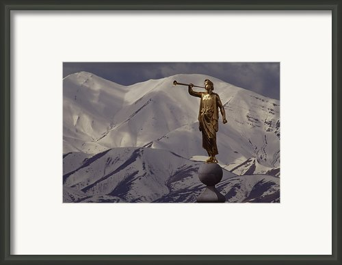The Gilded Statue Of The Angel Moroni Framed Print By James P. Blair