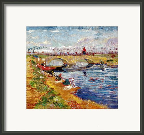 The Gleize Bridge Over The Vigneyret Canal  Framed Print By Vincent Van Gogh