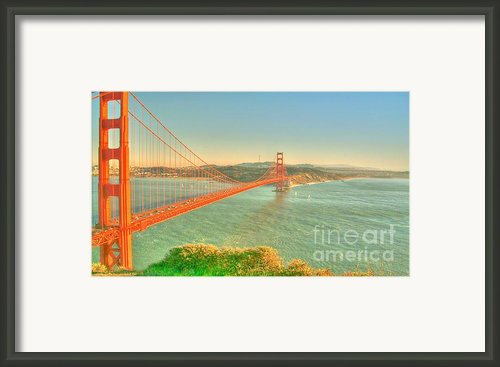 The Golden Gate Bridge  Fall Season Framed Print By Alberta Brown Buller