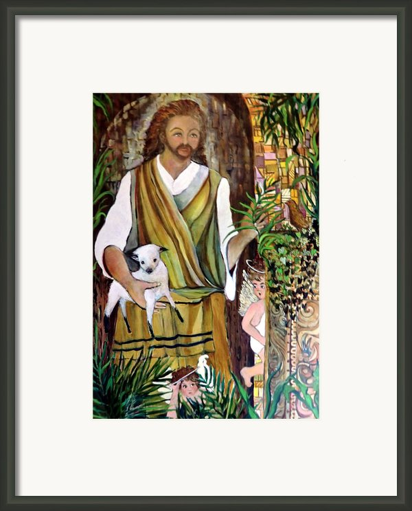 The Good Shephard At The Door Framed Print By Mindy Newman
