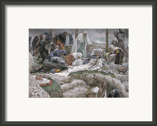 The Holy Virgin Receives The Body Of Jesus Framed Print By Tissot