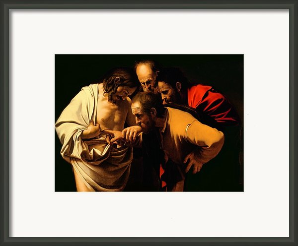 The Incredulity Of Saint Thomas Framed Print By Michelangelo Merisi Da Caravaggio