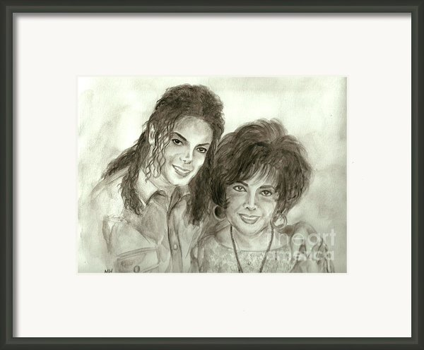 The King Of Pop And Elizabeth Taylor Framed Print By Nicole Wang