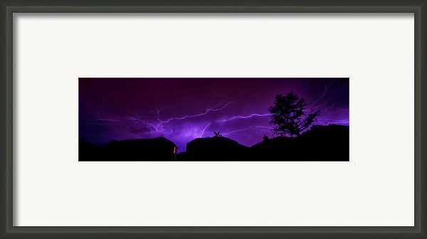 The Lightning Over Avery Neighborhood Framed Print By Lisa  Spencer