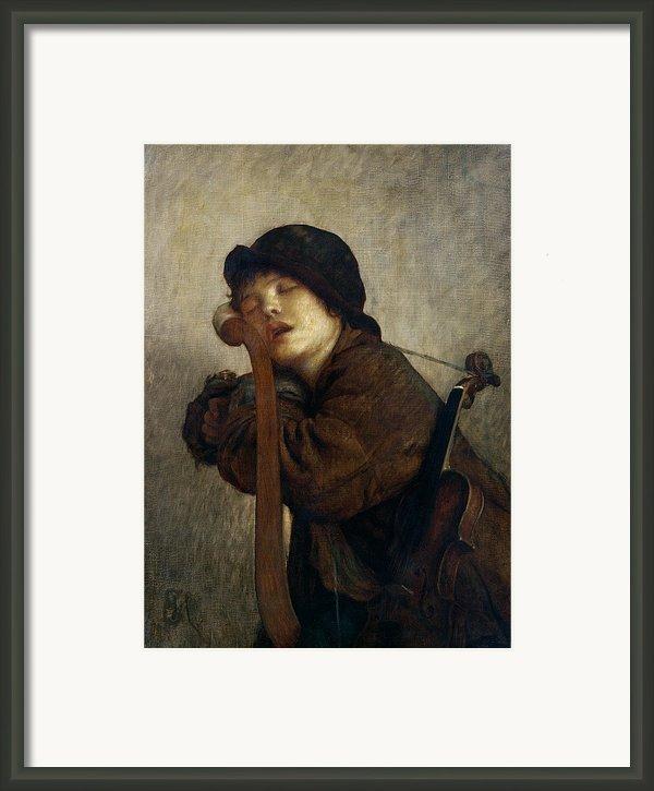 The Little Violinist Sleeping Framed Print By Antoine Auguste Ernest Hebert