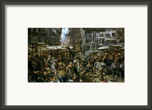 The Market Of Verona Framed Print By Adolph Friedrich Erdmann Von Menzel
