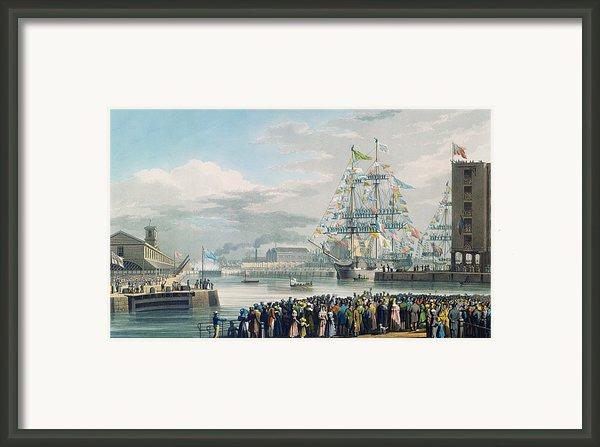 The Opening Of Saint Katharine Docks Framed Print By Edward Duncan