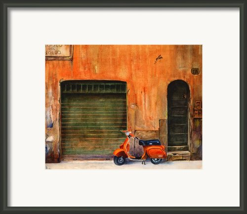 The Orange Vespa Framed Print By Karen Fleschler
