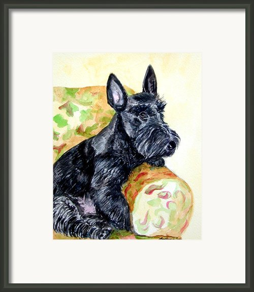 The Perfect Guest - Scottish Terrier Framed Print By Lyn Cook