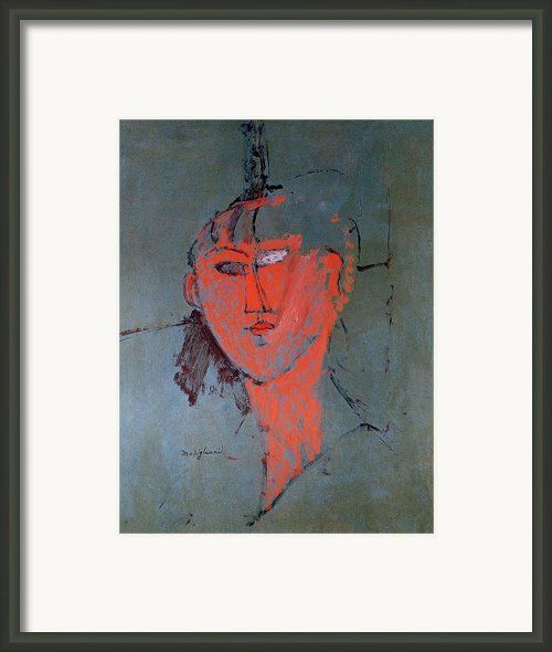 The Red Head Framed Print By Amedeo Modigliani
