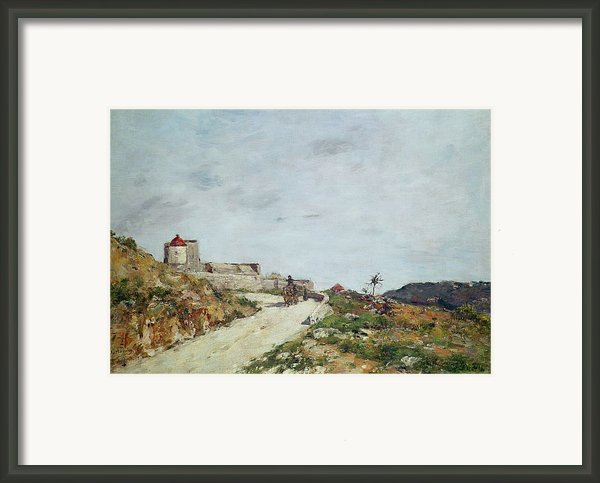 The Road To The Citadel At Villefranche Framed Print By Eugene Louis Boudin
