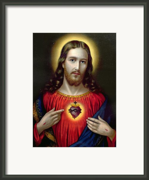 The Sacred Heart Of Jesus Framed Print By English School