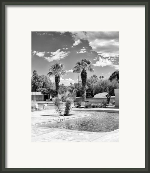 The Sandpiper Pool Bw Palm Desert Framed Print By William Dey