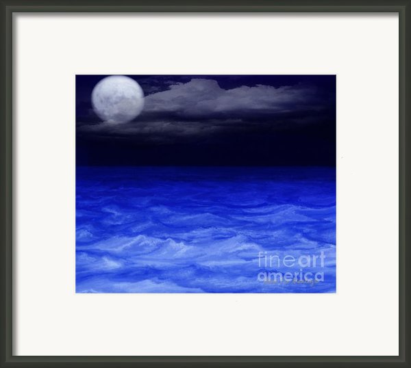 The Sea At Night Framed Print By Gina Manley
