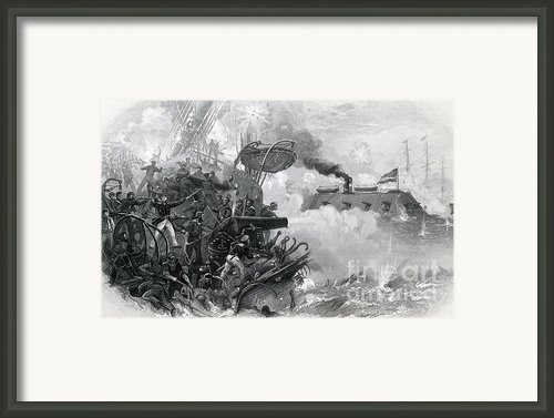 The Sinking Of The Cumberland, 1862 Framed Print By Photo Researchers