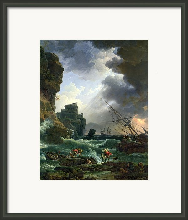The Storm Framed Print By Claude Joseph Vernet