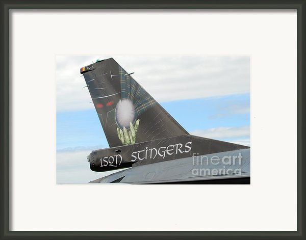 The Tail Of A Belgian F16 Aircraft Framed Print By Luc De Jaeger