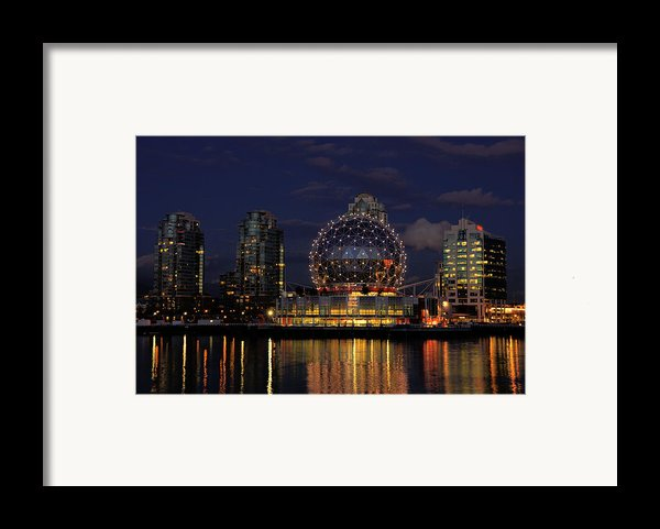 The Telus Science Center At Night Framed Print By Lawrence Christopher