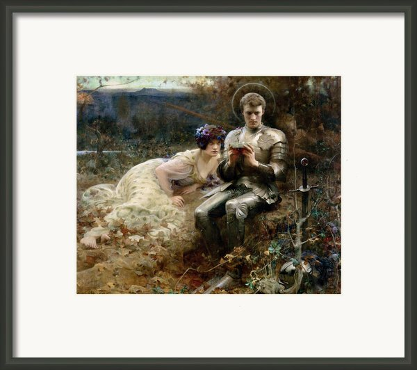 The Temptation Of Sir Percival Framed Print By Arthur Hacker