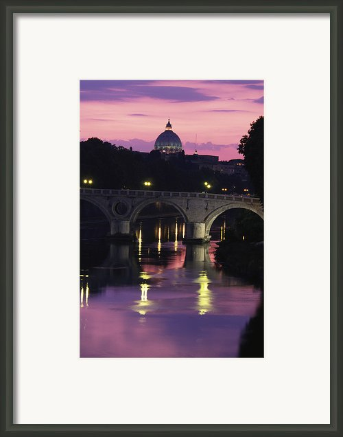 The Tiber River And The Dome Of St Framed Print By Richard Nowitz