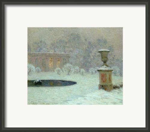 The Trianon Under Snow Framed Print By Henri Eugene Augustin Le Sidaner