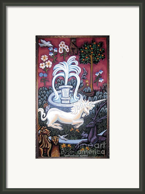 The Unicorn And Garden Framed Print By Genevieve Esson