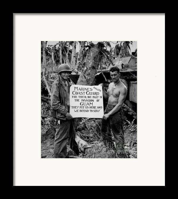 The U.s. Marines Salute The U.s. Coast Framed Print By Stocktrek Images