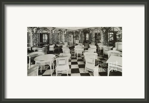 The Verandah Cafe Of The Titanic Framed Print By Photo Researchers