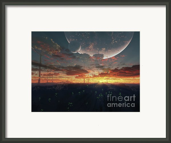 The View From An Alien Moon Towards Framed Print By Brian Christensen