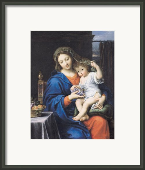 The Virgin Of The Grapes Framed Print By Pierre Mignard