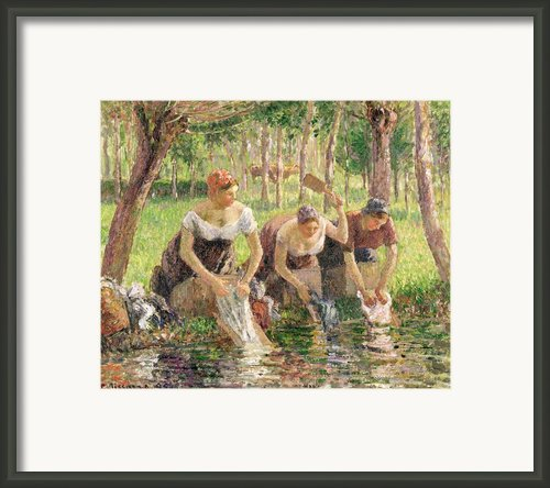 The Washerwomen Framed Print By Camille Pissarro