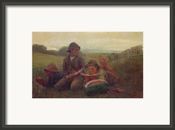 The Watermelon Boys Framed Print By Winslow Homer